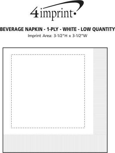 Imprint Area of Beverage Napkin - 1-ply - White - Low Qty