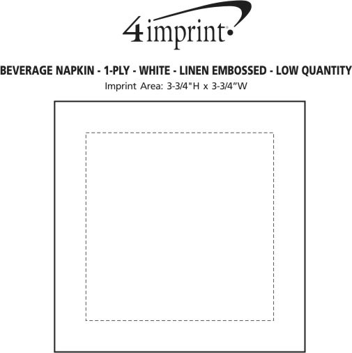 Imprint Area of Beverage Napkin - 1-ply - White - Linen Embossed - Low Qty