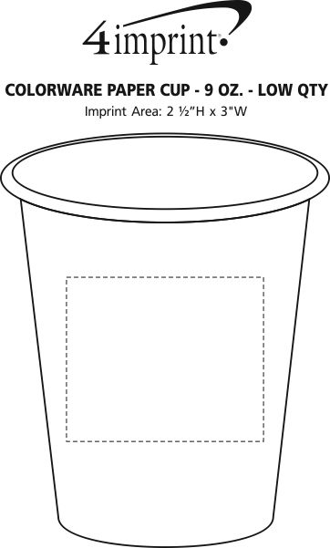 Imprint Area of Colorware Paper Cup - 9 oz. - Low Qty