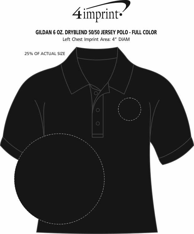 Imprint Area of Gildan 6 oz. DryBlend 50/50 Jersey Polo - Full Color