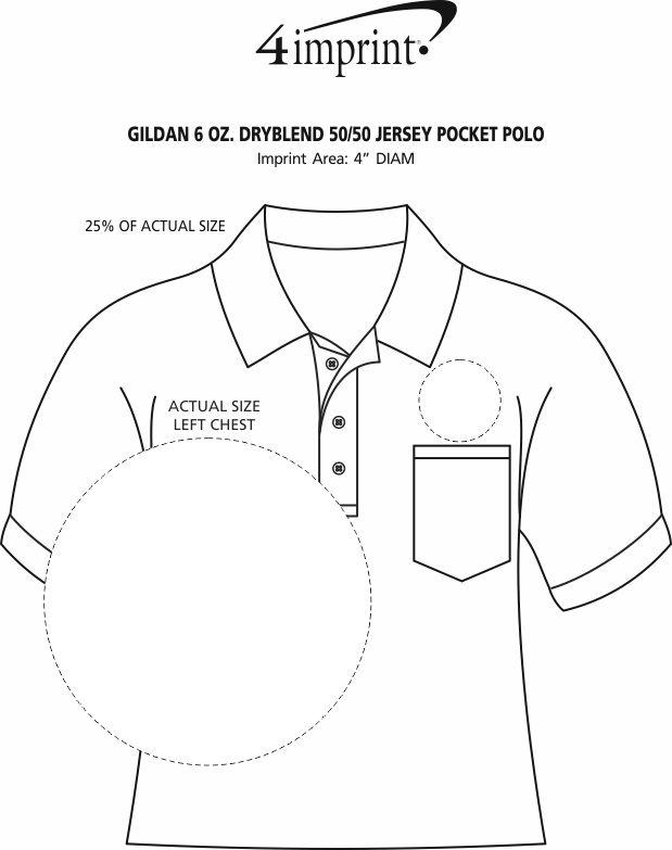 Imprint Area of Gildan 6 oz. DryBlend 50/50 Jersey Pocket Polo