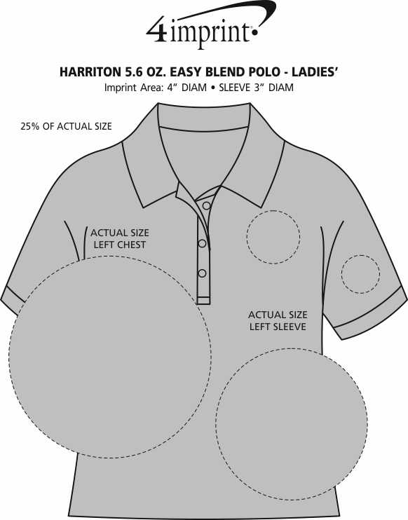 Imprint Area of Harriton 5.6 oz. Easy Blend Polo - Ladies' - Embroidered
