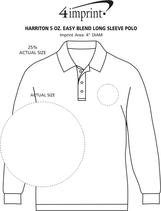 Imprint Area of Harriton 5.6 oz. Easy Blend Long Sleeve Polo