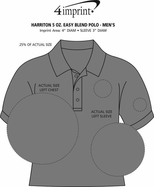 Imprint Area of Harriton 5.6 oz. Easy Blend Polo - Men's - Embroidered
