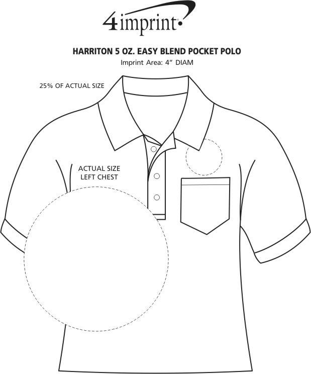 Imprint Area of Harriton 5.6 oz. Easy Blend Pocket Polo