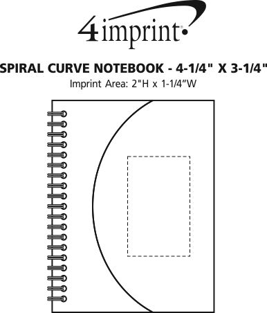 """Imprint Area of Spiral Curve Notebook - 4-1/4"""" x 3-1/4"""""""