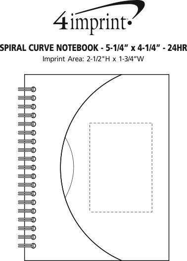 "Imprint Area of Spiral Curve Notebook - 5-1/4"" x 4-1/4"" - 24 hr"