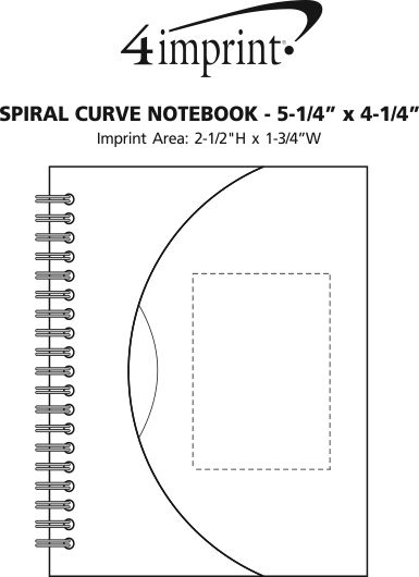 "Imprint Area of Spiral Curve Notebook - 5-1/4"" x 4-1/4"""