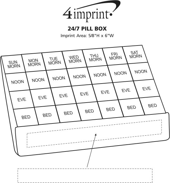 Imprint Area of 24/7 Pill Box