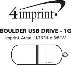 Imprint Area of Boulder USB Drive - 1GB