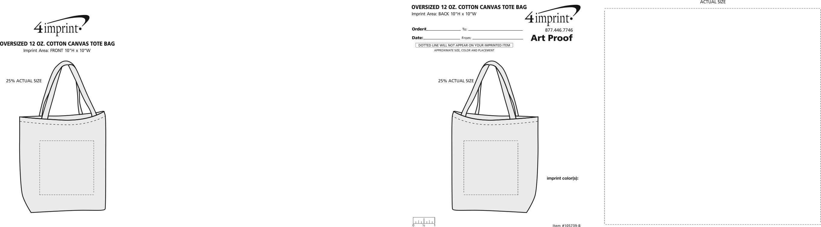 Imprint Area of Oversized 12 oz. Cotton Canvas Tote Bag - Black
