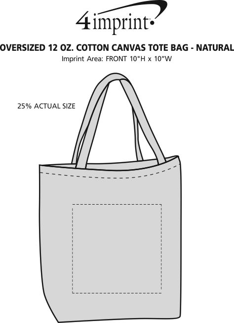 Imprint Area of Oversized 12 oz. Cotton Canvas Tote Bag - Natural