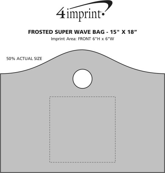"Imprint Area of Frosted Super Wave Bag - 15"" x 18"" - 24 hr"