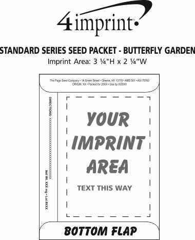 Imprint Area of Standard Series Seed Packet - Butterfly Garden