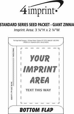 Imprint Area of Standard Series Seed Packet - Giant Zinnia