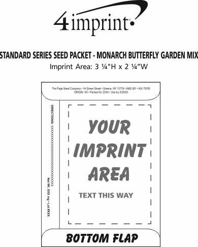 Imprint Area of Standard Series Seed Packet - Monarch Butterfly Garden Mix