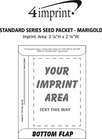 Imprint Area of Standard Series Seed Packet - Marigold