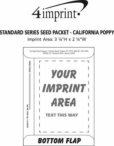 Imprint Area of Standard Series Seed Packet - California Poppy