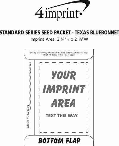 Imprint Area of Standard Series Seed Packet - Texas Bluebonnet