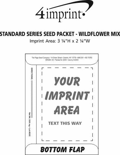 Imprint Area of Standard Series Seed Packet - Wildflower Mix