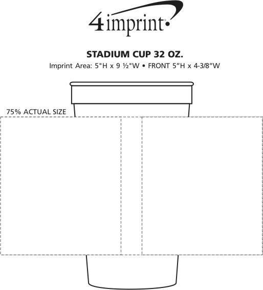 Imprint Area of Stadium Cup - 32 oz. - Smooth