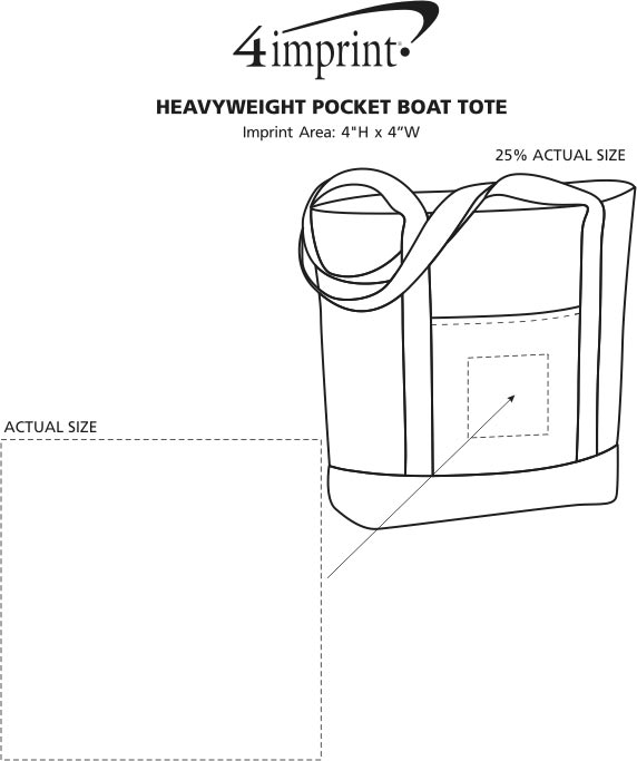 Imprint Area of Heavyweight Pocket Boat Tote