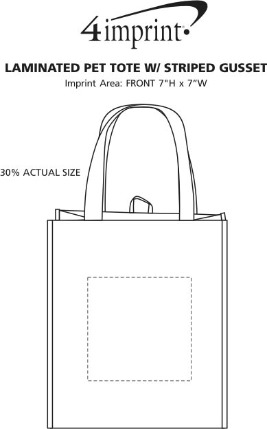 Imprint Area of Laminated PET Tote with Striped Gusset
