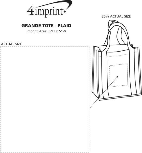 "Imprint Area of Grande Printed Shopping Tote - 14"" x 12-1/2"" - Plaid"