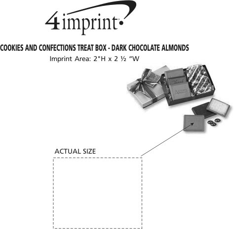 Imprint Area of Cookies and Confections Treat Box - Dark Chocolate Almonds