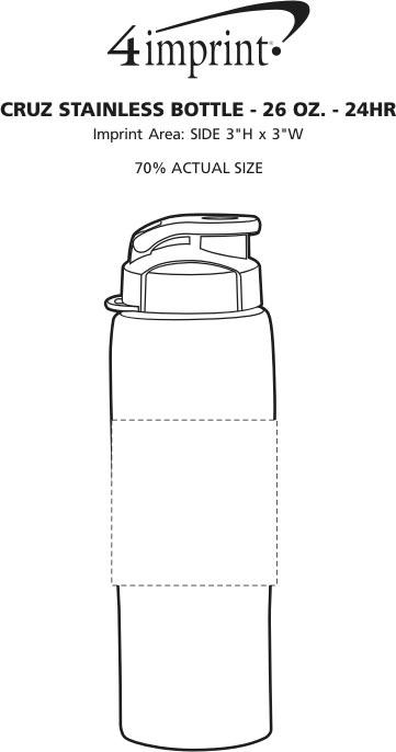 Imprint Area of Cruz Stainless Bottle - 26 oz. - 24 hr
