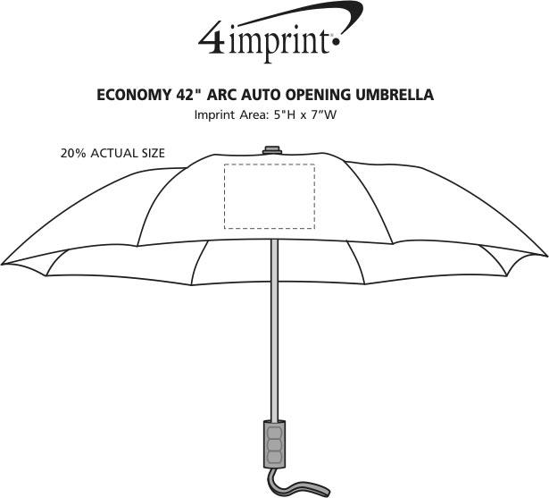 """Imprint Area of Economy Auto Opening Umbrella - 42"""" Arc"""