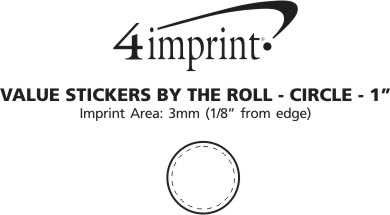 """Imprint Area of Value Sticker by the Roll - Circle - 1"""""""