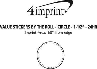"Imprint Area of Value Sticker by the Roll - Circle - 1-1/2"" - 24 hr"