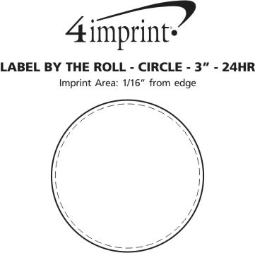 "Imprint Area of Value Sticker by the Roll - Circle - 3"" - 24 hr"