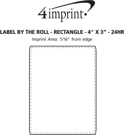 """Imprint Area of Value Sticker by the Roll - Rectangle - 3"""" x 4"""" - 24 hr"""