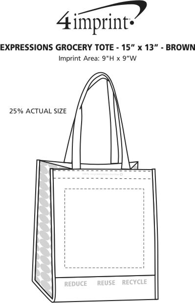 Imprint Area of Expressions Grocery Tote - Brown