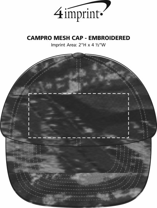 Imprint Area of Camo Mesh Cap - Embroidered