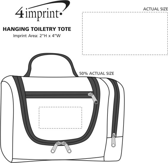 Imprint Area of Hanging Toiletry Tote