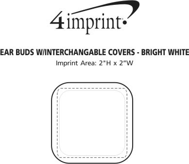 Imprint Area of Ear Buds with Interchangeable Covers - Bright White