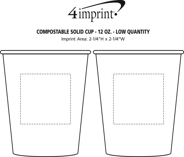 Imprint Area of Compostable Solid Cup - 12 oz. - Low Qty