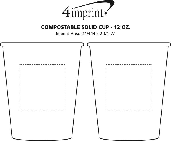 Imprint Area of Compostable Solid Cup - 12 oz.