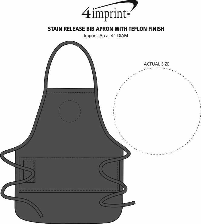 Imprint Area of Stain Release Bib Apron with Teflon Finish