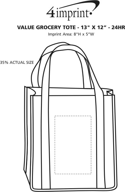 "Imprint Area of Value Grocery Tote - 13"" x 12"" - 24 hr"