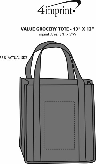 """Imprint Area of Value Grocery Tote - 13"""" x 12"""""""