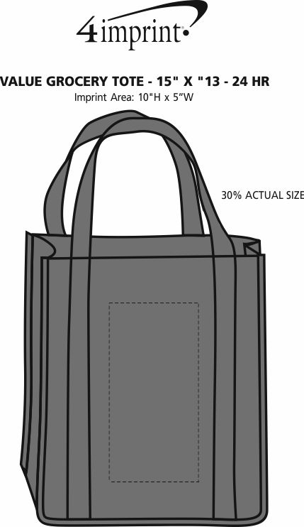 """Imprint Area of Value Grocery Tote - 15"""" x 13"""" - 24 hr"""