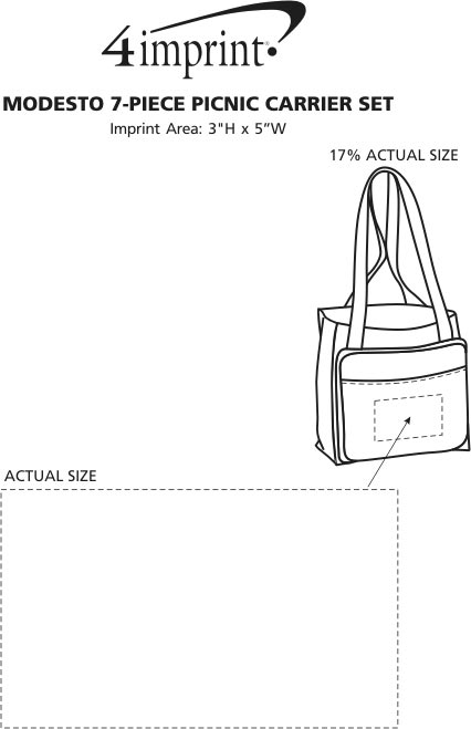 Imprint Area of Modesto 7-Piece Picnic Carrier Set