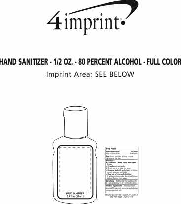 Imprint Area of Hand Sanitizer - 1/2 oz. - 80 Percent Alcohol - Full Color