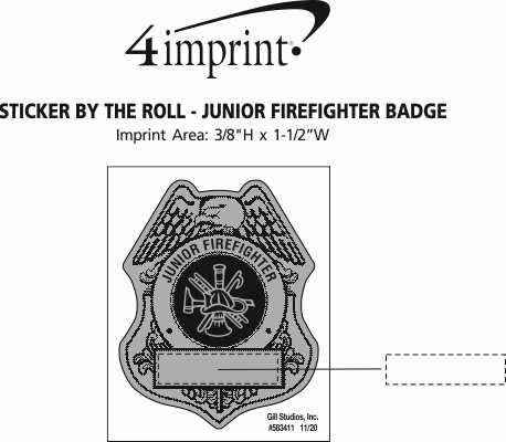 Imprint Area of Lapel Sticker by the Roll - Junior Firefighter Badge