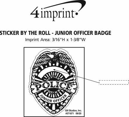 Imprint Area of Lapel Sticker by the Roll - Junior Officer Badge