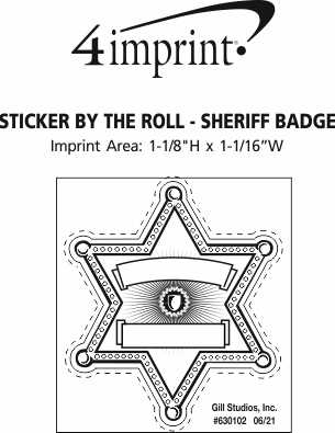Imprint Area of Lapel Sticker by the Roll - Sheriff Badge